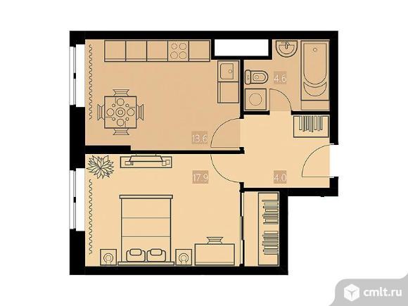 1-комнатная квартира 40,1 кв.м. Фото 1.