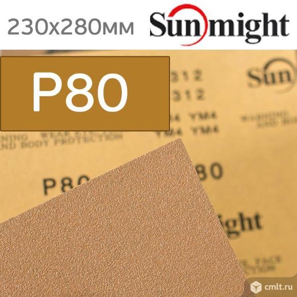 Наждачная бумага сухая SunMight  Р80 золотистая. Фото 1.