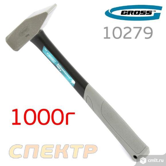 Молоток слесарный 1000г GROSS 10279 квадратный бое. Фото 1.