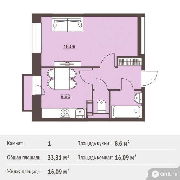 1-комнатная квартира 33,81 кв.м. Фото 1.