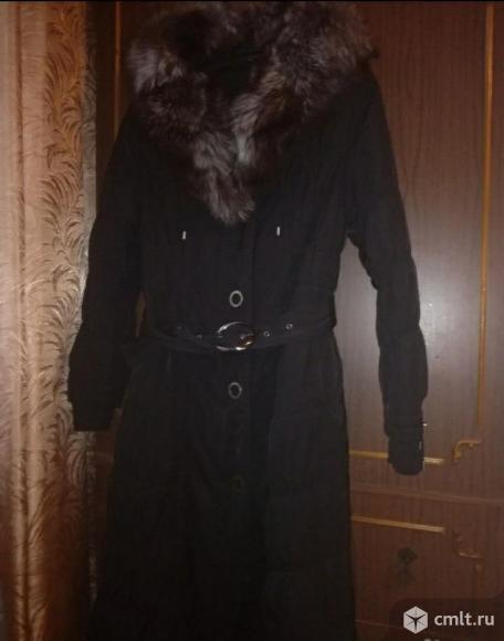 Пальто (пихора) зимнее черное женское, воротник чернобурка. Фото 1.