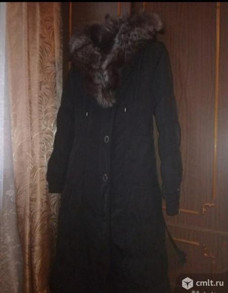 Пальто (пихора) зимнее черное женское, воротник чернобурка. Фото 2.
