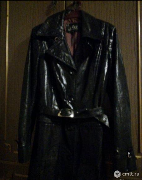 Френч кожаный женский черный, лазерная обработка, р. 44-46. Фото 1.