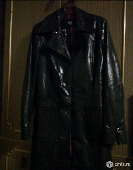 Френч кожаный женский черный, лазерная обработка, р. 44-46. Фото 2.