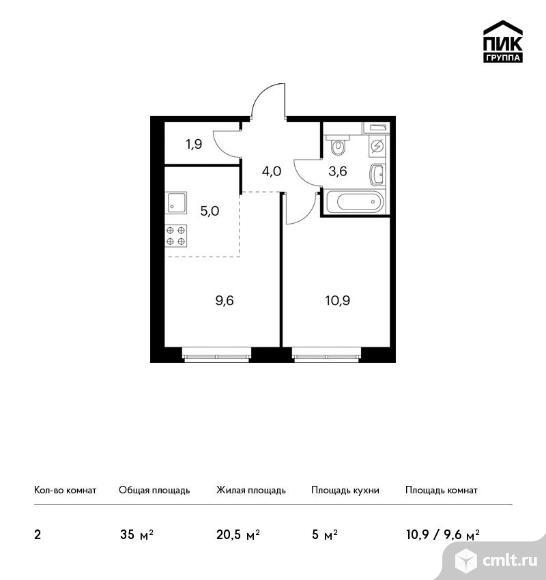 2-комнатная квартира 35 кв.м. Фото 1.