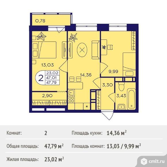 2-комнатная квартира 47,79 кв.м. Фото 1.
