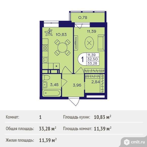 1-комнатная квартира 33,28 кв.м. Фото 1.