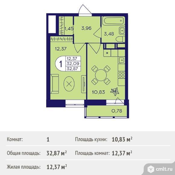 1-комнатная квартира 32,87 кв.м. Фото 1.