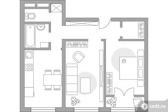 2-комнатная квартира 50,65 кв.м. Фото 1.
