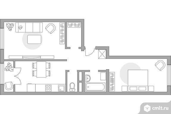 2-комнатная квартира 54,49 кв.м. Фото 1.