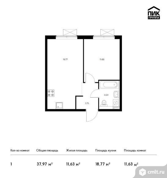 1-комнатная квартира 37,97 кв.м. Фото 1.