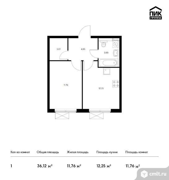 1-комнатная квартира 36,12 кв.м. Фото 1.
