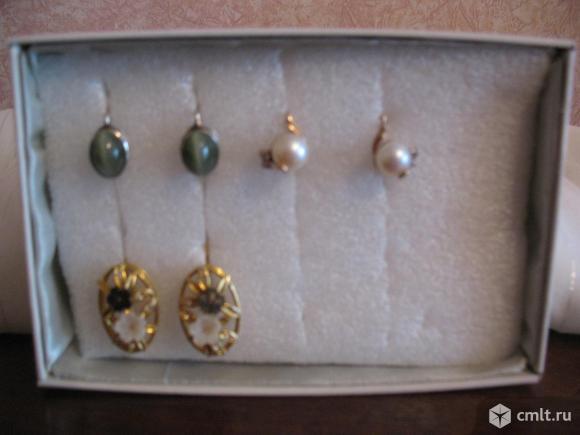 серьги жемчуг серебро позолота Эталон Женави перламутр