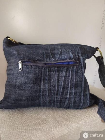 Сумка женская джинсовая ручной работы. Фото 3.