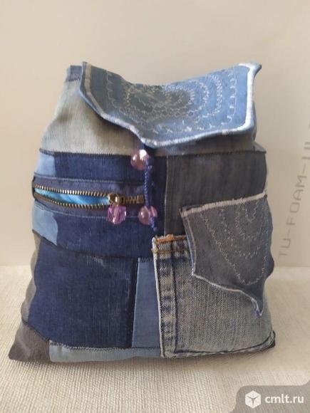 Рюкзаки молодежные джинсовые ручной работы. Фото 1.