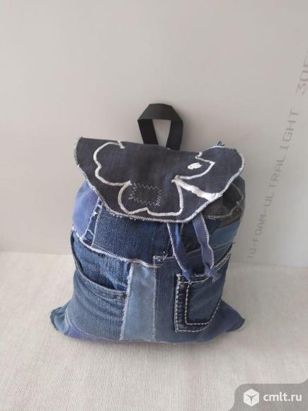 Рюкзак джинсовый эксклюзив ручной работы. Фото 1.