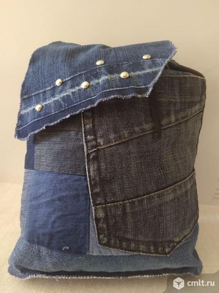 Рюкзак мужской джинсовый ручной работы. Фото 1.