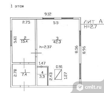 Продается: дом 68.4 м2 на участке 13.08 сот.. Фото 1.