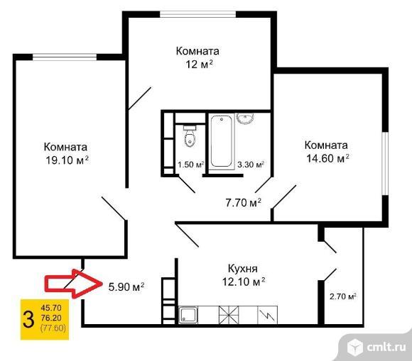 3-комнатная квартира 77,06 кв.м. Фото 1.