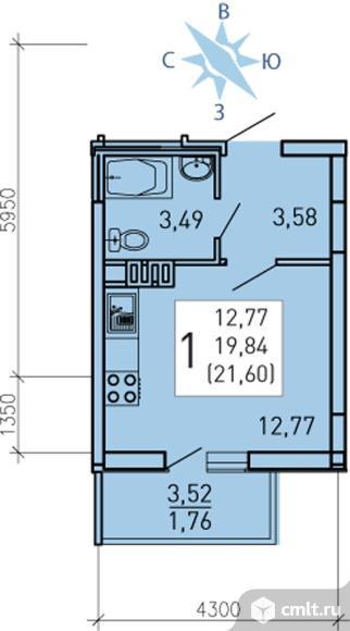 1-комнатная квартира 21 кв.м. Фото 1.