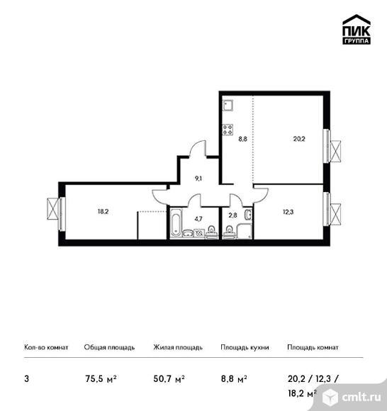 3-комнатная квартира 75,5 кв.м. Фото 1.