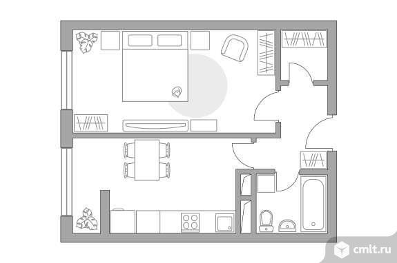 1-комнатная квартира 37,09 кв.м. Фото 1.
