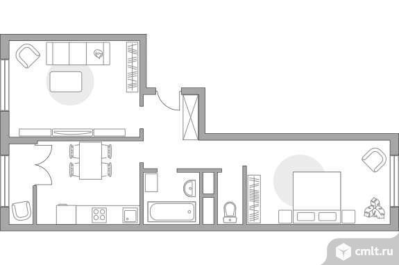 2-комнатная квартира 50,62 кв.м. Фото 1.