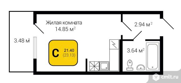 1-комнатная квартира 23,13 кв.м. Фото 6.