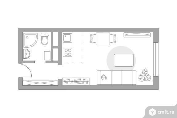 1-комнатная квартира 23,49 кв.м. Фото 1.