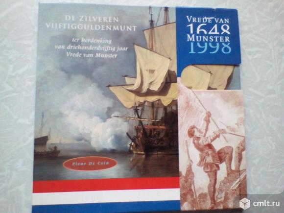 Нидерланды Буклет 50 гульденов, 1998 350 лет Мюнстерскому миру. Серебро 0.925, 25g, o 38mm. Фото 1.