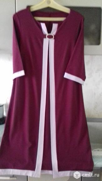 Платье, цв. вишневый с сиреневым, трикотаж, Россия, р. Фото 1.