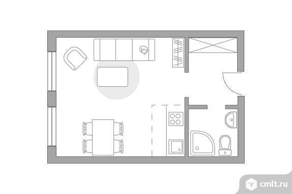 1-комнатная квартира 26,42 кв.м. Фото 1.