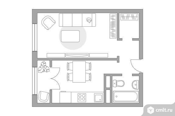 1-комнатная квартира 34,07 кв.м. Фото 1.