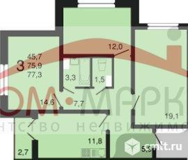 3-комнатная квартира 77,3 кв.м. Фото 9.