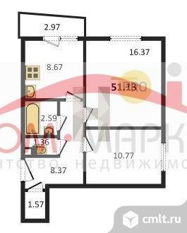 2-комнатная квартира 51,13 кв.м. Фото 7.