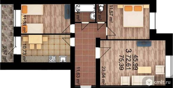 3-комнатная квартира 75,39 кв.м. Фото 1.