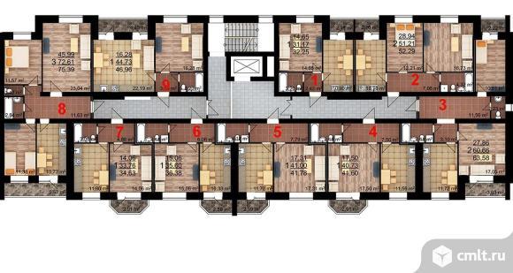 2-комнатная квартира 63,58 кв.м. Фото 3.