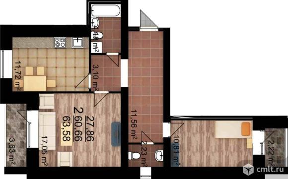 2-комнатная квартира 63,58 кв.м. Фото 1.