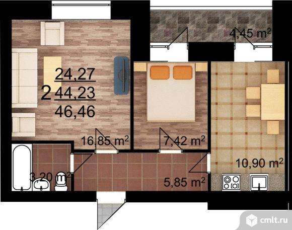 2-комнатная квартира 46,46 кв.м. Фото 1.