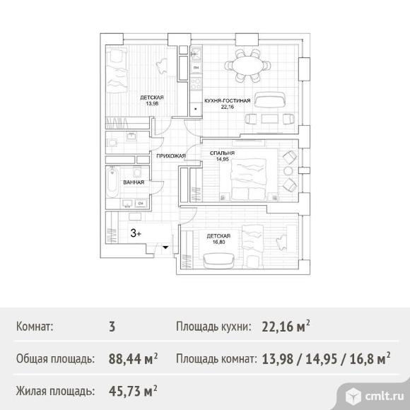 3-комнатная квартира 88,44 кв.м. Фото 1.