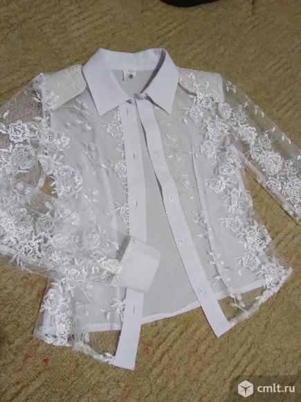 Юбка школьная черная, блузка белая на 6-7 лет. Фото 3.