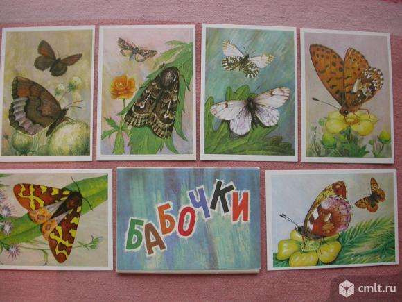 Открытки, наборы, с изображениями бабочек, животных. Фото 1.