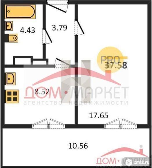 1-комнатная квартира 37,58 кв.м. Фото 1.