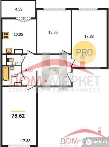 3-комнатная квартира 78,62 кв.м. Фото 1.