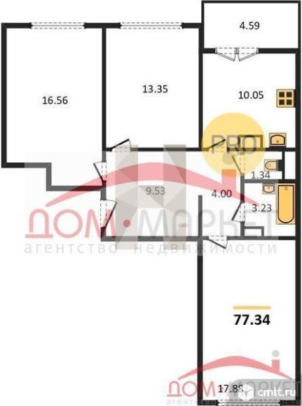 3-комнатная квартира 77,34 кв.м. Фото 1.