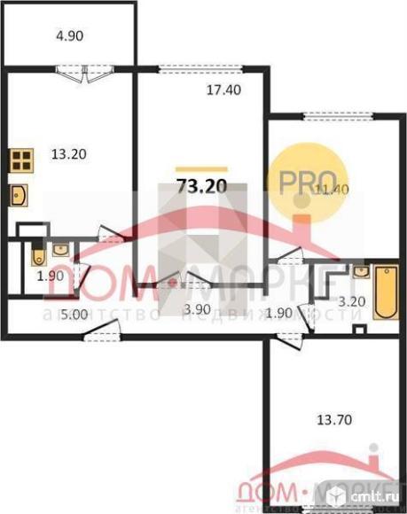 3-комнатная квартира 73,2 кв.м. Фото 1.
