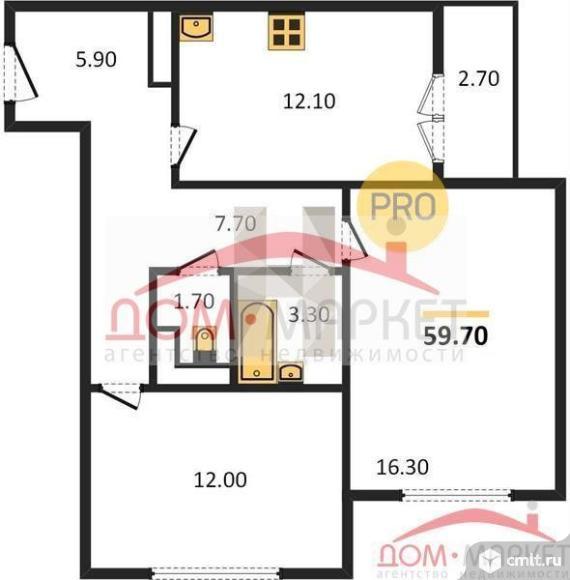 2-комнатная квартира 59,7 кв.м. Фото 1.