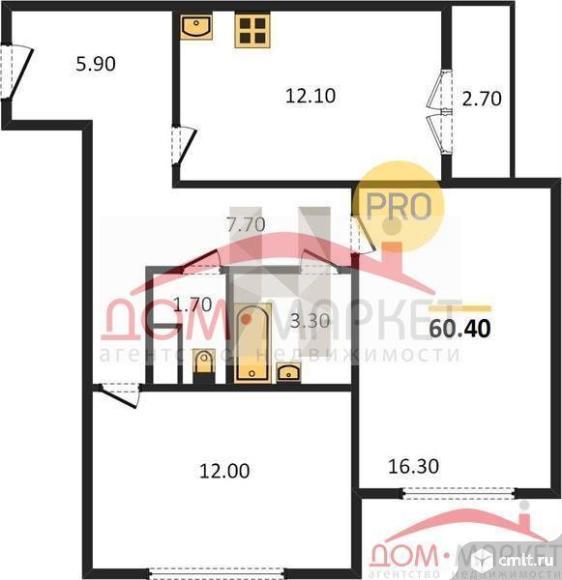 2-комнатная квартира 60,4 кв.м. Фото 1.