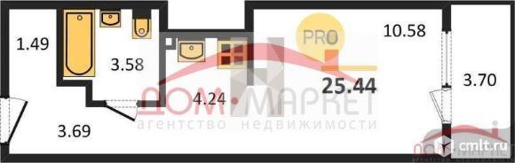 1-комнатная квартира 25,44 кв.м. Фото 1.