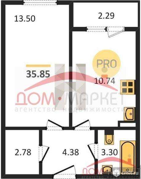1-комнатная квартира 35,85 кв.м. Фото 1.